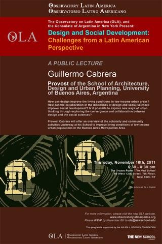 Diseño y Desarrollo Social: desafíos desde la perspectiva latinoamericana. Conferencia pública de Guillermo Germán Cabrera, Secretario Académico FADU-UBA