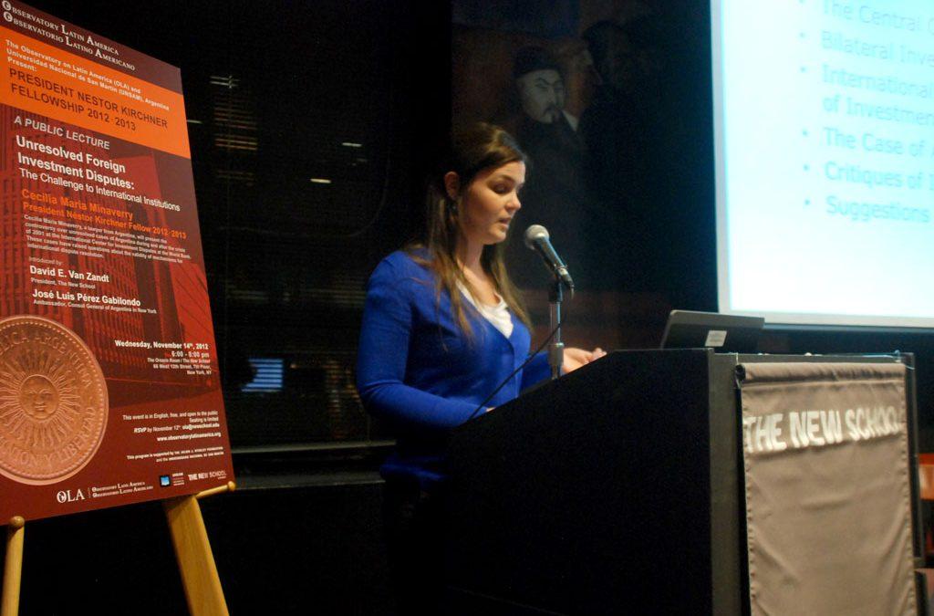 Cecilia María Minaverry, Primera Becaria Presidente Néstor Kirchner 2012-2013, completó exitosamente un enriquecedor intercambio académico en The New School
