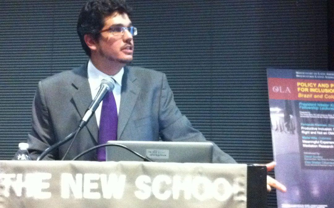 Fernando Kleiman, becario Néstor Kirchner 2013-2014, brinda conferencia pública en Nueva York