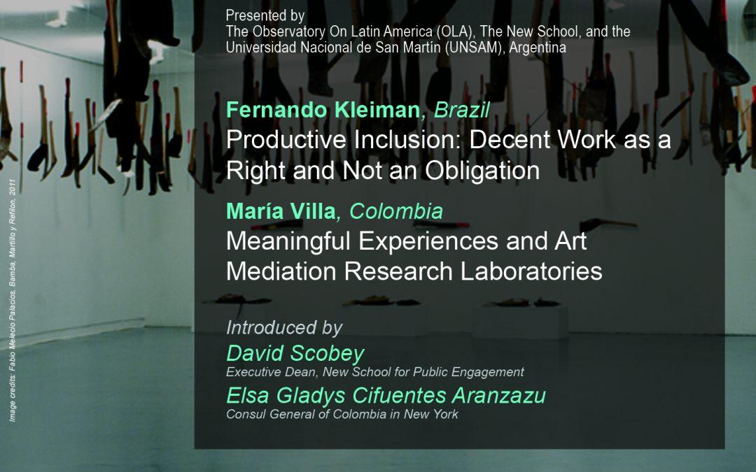 Conferencia Pública de Fernando Kleiman y María Villa, Becarios PNK 2013-2014