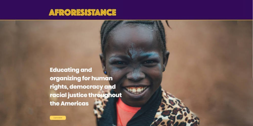 Image of the AfroResistance homepage